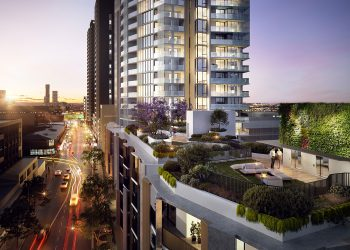 Artists impression of the West Village Parramatta development showing high rise apartments