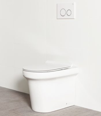 Milu Odourless Classico in-wall floor mounted toilet has a curved design with classic detailing. The cistern is hidden inside the wall cavity.