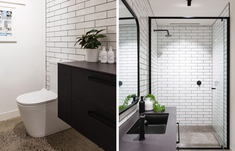 Milu Odourless Mod installed in a newly renovated bathroom on the left and the Linear Slot Grille sits above the shower on the right