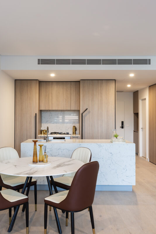 Kitchen in one of the Natura apartments, Expella installed the Miele under-mount rangehood